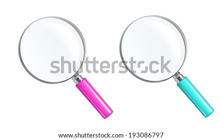 Magnifying Glasses On White Background.  - stock photo