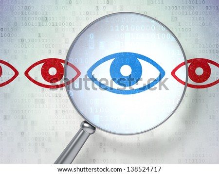 Magnifying optical glass with Eye icons on digital background, 3d render - stock photo