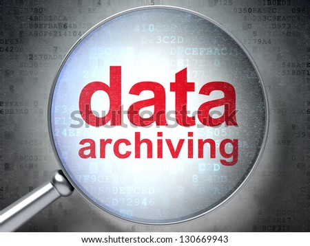 Magnifying optical glass with words Data Archiving on digital background, 3d render - stock photo