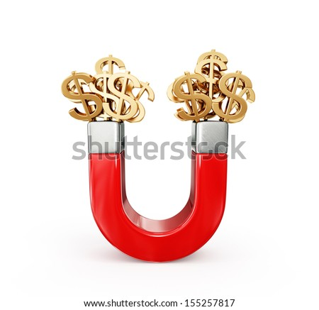 magnt attract money concept isolated on a white - stock photo