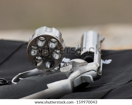 Magnum revolver with open chamber. - stock photo