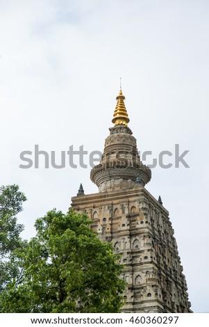 Mahabodhi temple, bodh gaya, India. The site where Gautam Buddha attained enlightenment. - stock photo