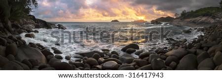 Mahe island, Seychelles panorama at sunset - stock photo