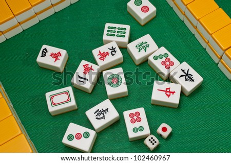 Mahjong is ancient game in China - stock photo