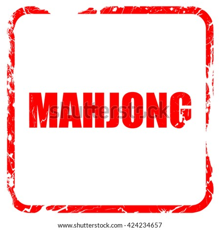 mahjong, red rubber stamp with grunge edges - stock photo