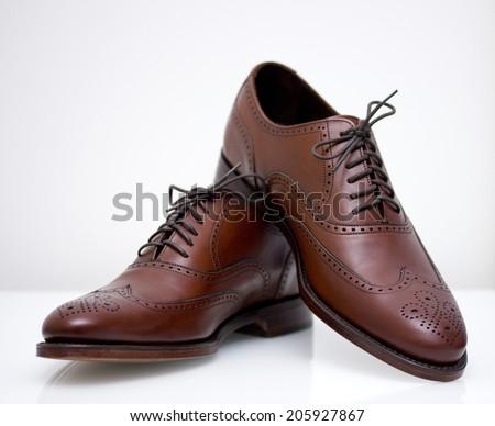 Mahogany English Brogue Oxford Shoes - stock photo