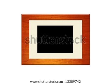 Mahogany frame with beige matt board - stock photo
