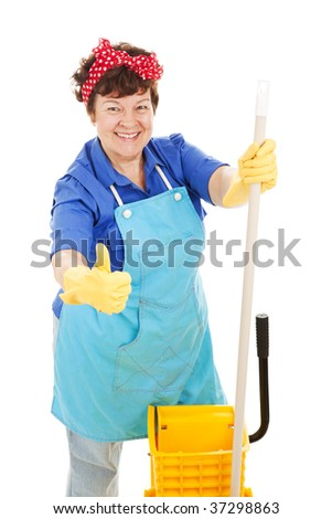 Maid holding her mop and giving a thumbs up for cleanliness.  Isolated on white. - stock photo