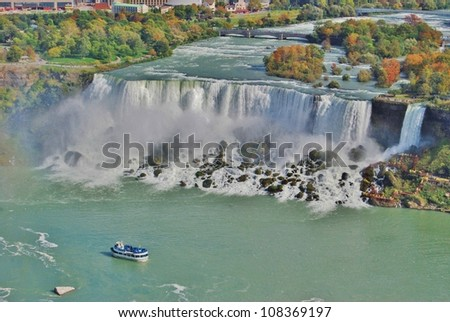 Maid of the Mist Boat at Niagara Falls Aerial View, USA - stock photo