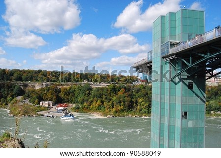 Maid of the Mist Tower at Niagara Falls, USA - stock photo