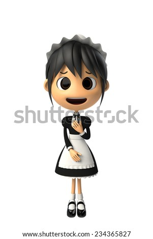 Maid reluctantly to know - stock photo