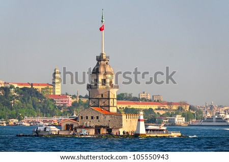 Maiden Tower (Tower of Leandros, Turkish: Kiz Kulesi) tranquil scenery at the entrance to Bosporus Strait in Istanbul, Turkey - stock photo