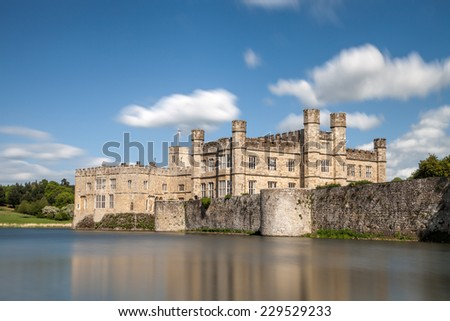 MAIDSTONE, UK: 5th of May 2014:Leeds castle on 5th of May 2014 in MAIDSTONE, UK (Kent district) - long exposure - stock photo