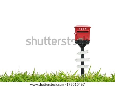 Mail box and wood sign - stock photo