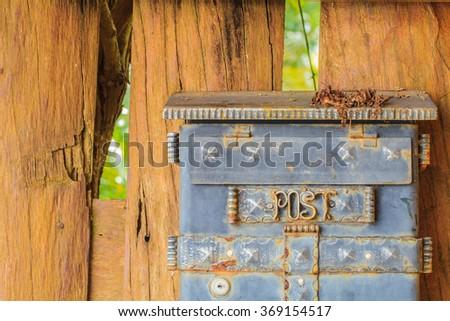 Mail box on wood - stock photo