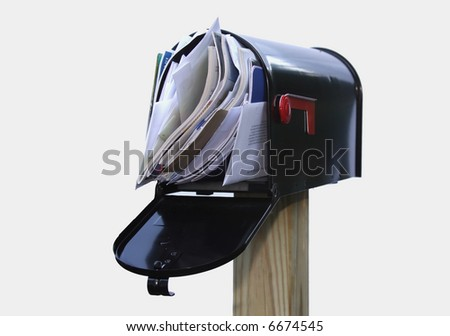 Mail box overflowing with mail, bills, junk mail, e-mails and other unwanted correspondence - stock photo