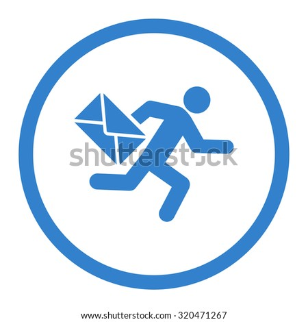 Mail courier glyph icon. This rounded flat symbol is drawn with cobalt color on a white background. - stock photo