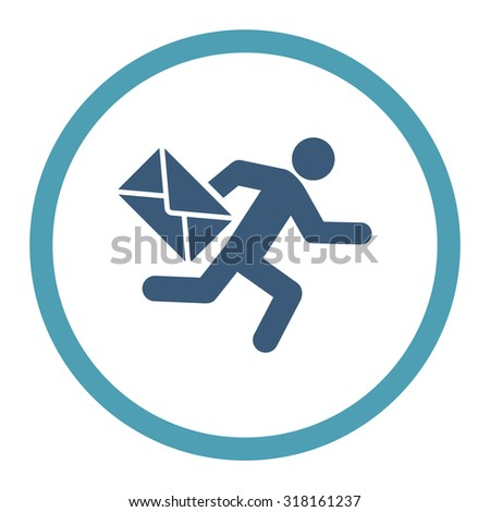 Mail courier glyph icon. This rounded flat symbol is drawn with cyan and blue colors on a white background. - stock photo