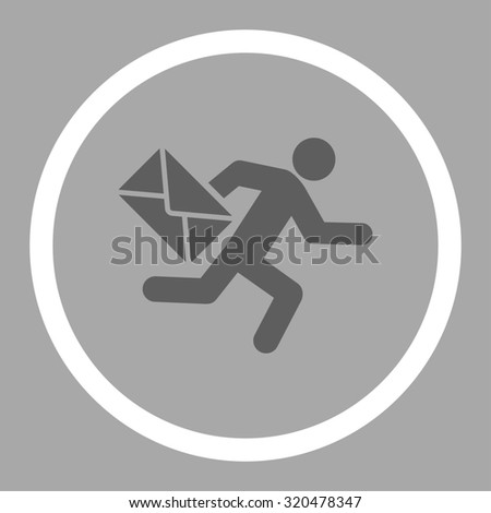 Mail courier glyph icon. This rounded flat symbol is drawn with dark gray and white colors on a silver background. - stock photo