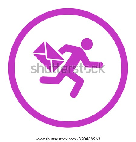 Mail courier glyph icon. This rounded flat symbol is drawn with violet color on a white background. - stock photo