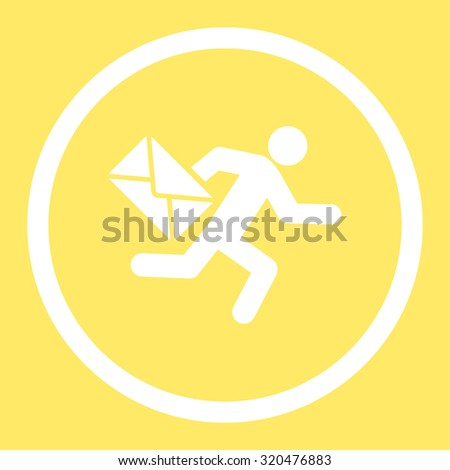 Mail courier glyph icon. This rounded flat symbol is drawn with white color on a yellow background. - stock photo