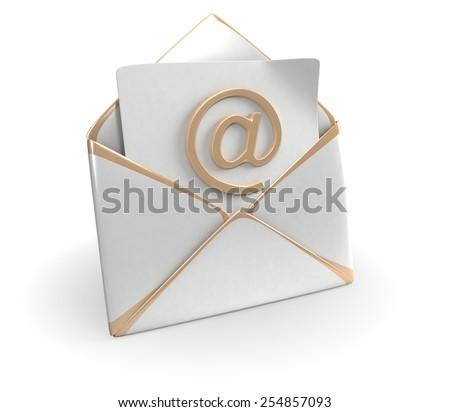 Mail Envelope Isolated On White - stock photo