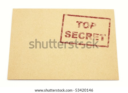 "Mail envelope with a stamp"" top secret"" - stock photo"