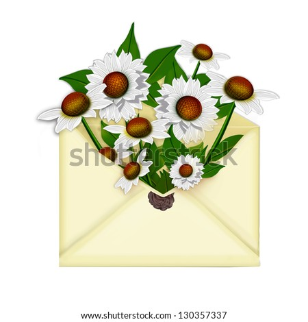 Mail envelope with flowers camomile - stock photo