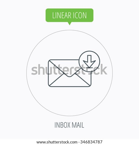 Mail inbox icon. Email message sign. Download arrow symbol. Linear outline circle button.  - stock photo
