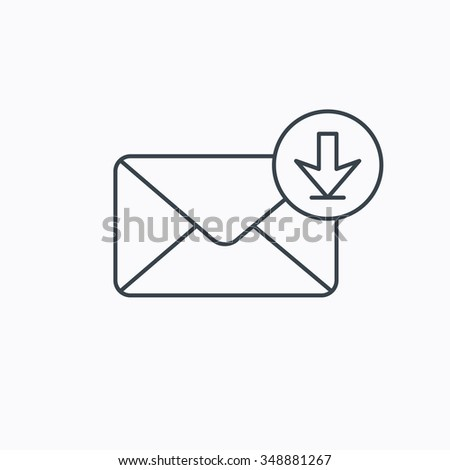 Mail inbox icon. Email message sign. Download arrow symbol. Linear outline icon on white background.  - stock photo