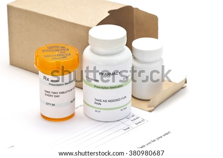 Mail order medications with invoice.   - stock photo