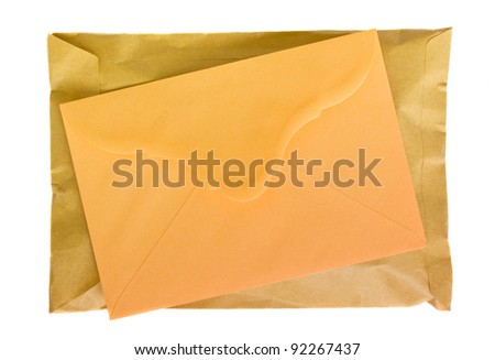 mail package and letter isolated on white background - stock photo