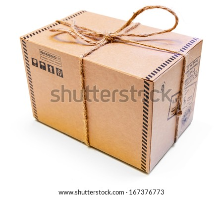 Mail package box isolated on white background - stock photo