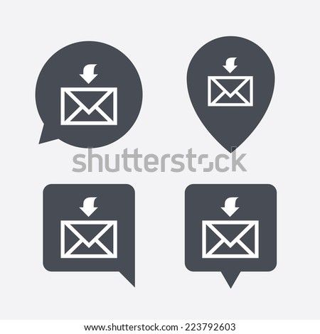 Mail receive icon. Envelope symbol. Get message sign. Mail navigation button. Map pointers information buttons. Speech bubbles with icons. - stock photo