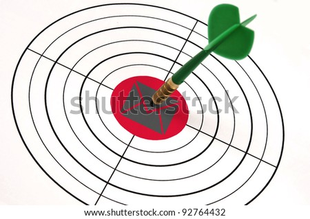 Mail shape in middle of target - stock photo