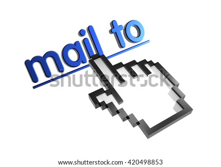 mail to. 3d rendered inscription. Link and finger, pointer. Isolated on white - stock photo