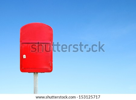 mailbox with a blue sky blank for text - stock photo