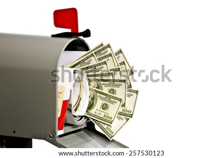 Mailbox With Accurately Printed Money And Copy Space  - stock photo