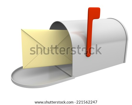 Mailbox with envelope. Computer generated image. - stock photo