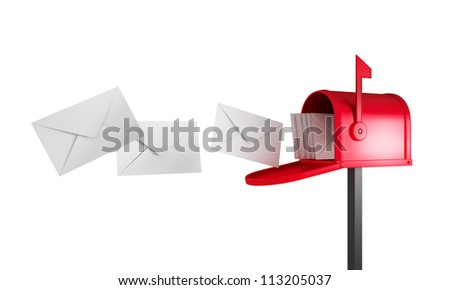 mailbox with flying mail - stock photo