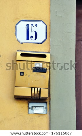 Mailbox with number 15. - stock photo