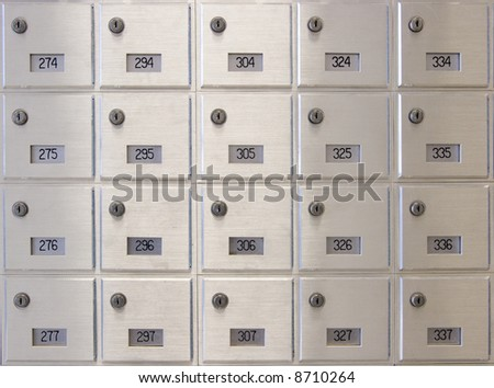 Mailboxes at a Post Office - stock photo