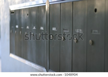 Mailboxes in a row - stock photo