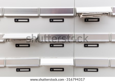 mailboxes of an apartment building - stock photo