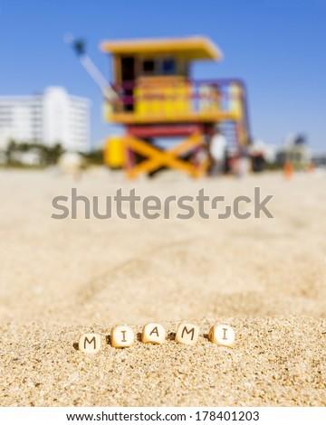 Maimi Southbeach, lifeguard house with letters on the sand, Florida, USA,  - stock photo
