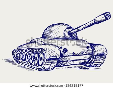 Main Battle Tank. Doodle style. Raster version - stock photo