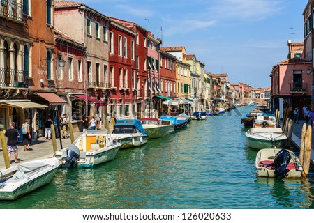 Main Canal, Murano Island, Venice, Italy - stock photo