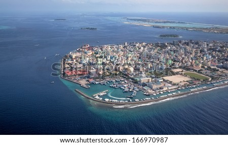 Main Capital of Maldives, Male. Picture taken from air. - stock photo