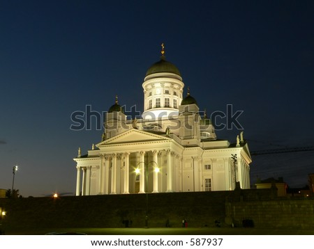 Main cathedral of Helsinki, Finland in night. - stock photo