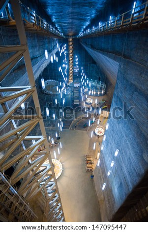 Main Chamber in Turda Salt Mine - Romania - stock photo